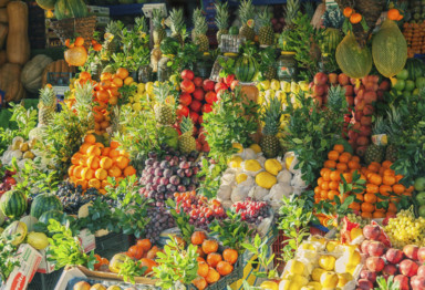 A market display of fruits and vegetables