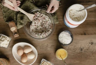 An overhead shot of someone baking with Bulletproof ingredients