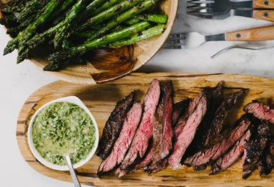 Sliced steak and asparagus