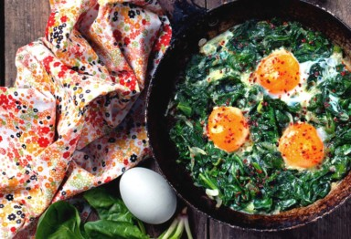 Leafy greens with eggs