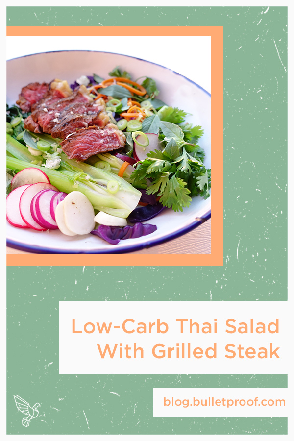 Fresh vegetables meet savory grilled steak in this low-carb Thai salad recipe that cooks up in minutes. Low-carb, paleo, and Whole30.