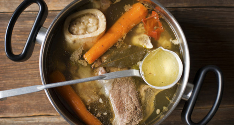 Bowl of beef broth for natural collagen