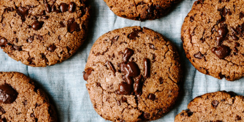 Chocolate chip peppermint cookies on parchment paper