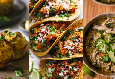 A gallery of muffins, tacos, and soup