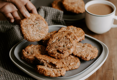 A plate of freshly baked breakfast cookies