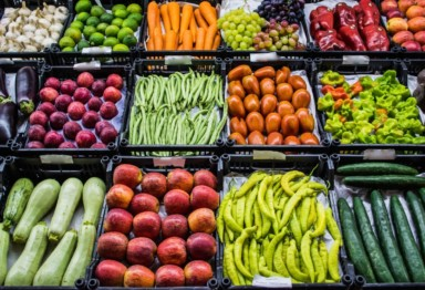 A colorful assortment of local produce
