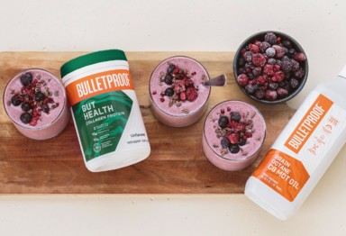 Bulletproof Gut Health Collagen Protein and Bulletproof Brain Octane C8 MCT Oil used to make berry smoothie
